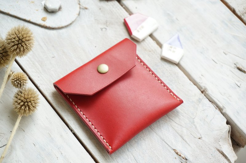 Red Bean Dry Leather Coin Purse / Wallet