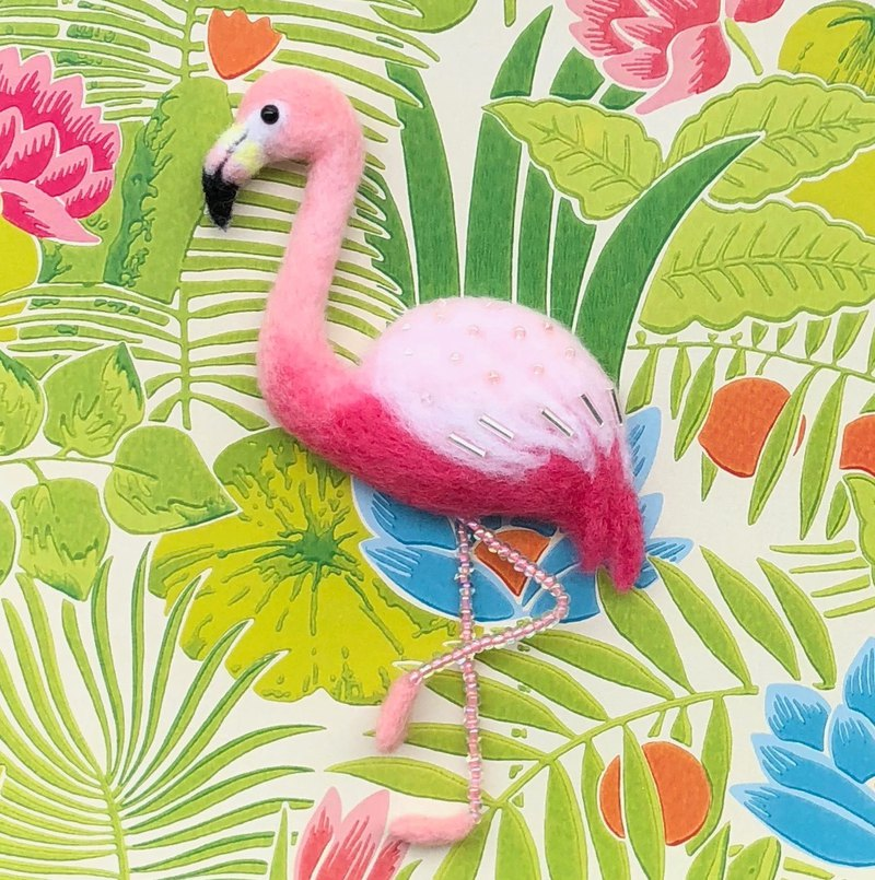 Flamingo - hand made wool felt pins