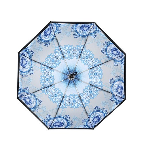 【Germany kobold】 anti-UV light through the intelligent sunscreen - blue and white porcelain series - double shade sun sun umbrella - three fold umbrella - flower porcelain
