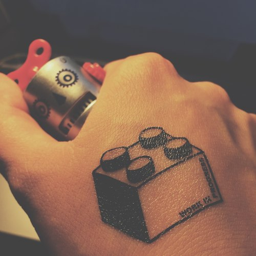 TOOD tattoo stickers | hand position Lego block tattoos tattoo stickers (2)