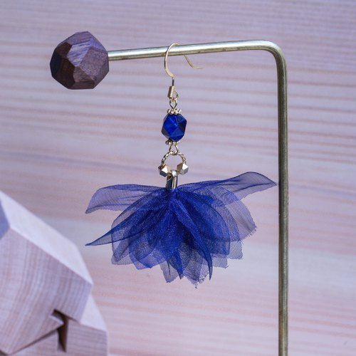Michelle | Tranquil Dangle Sterling Silver Floral Earrings - Fabric flower gift