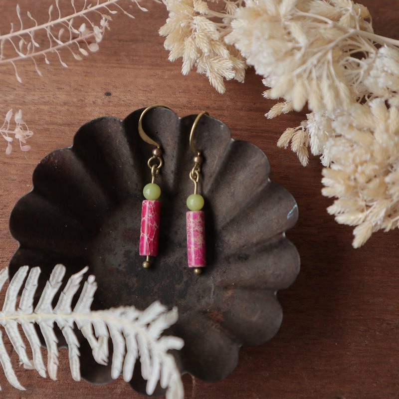 Natural Stone Geometric Brass Series Earrings - Berry Yogurt