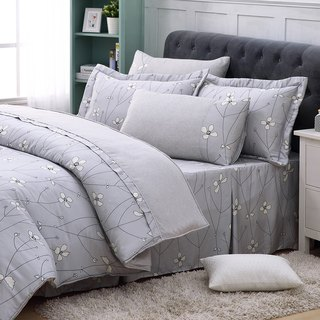 Increase the size of Jane Eyre flower (gray) - Tencel dual-use bedding set of six [100% Lysell]