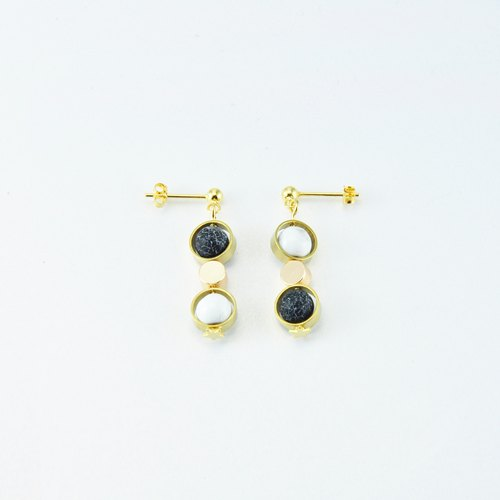 NATURAL Stone 925 Silver Stud Earrings( DARK FOREST  III)
