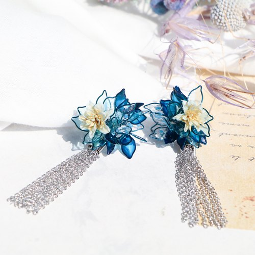 Purely。Ocean flower tassel / Pendant 925 pure silver ear pin