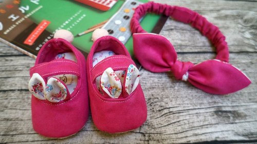 [Miya ko.] Grocery cloth hand-made Japanese white rabbit doll shoes / lovely peach / sweet / bow hair band / baby shoes / toddler shoes / full moon ceremony / month indemnity gift