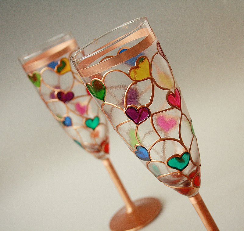 Heart Rainbow Glasses, Wedding Glasses, Hand Painted, Set of 2