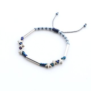 Stars dark blue beaded bracelet