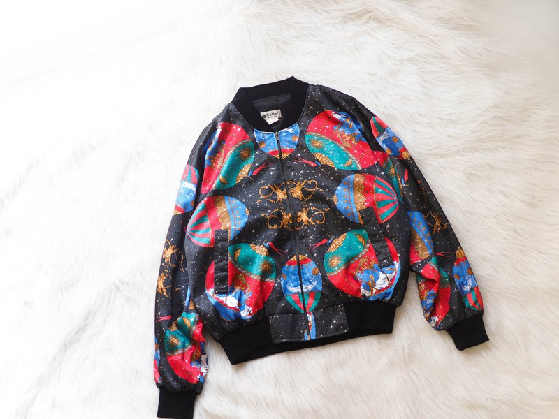 Alice Starry Night Dreamland Weekend Amusement Park Antique Shiny Slippery Bra Chain Baseball Jacket vintage