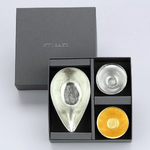 Pure Tin Tablets (S) + Pure Tin Gold Foil Wedding Cup Set
