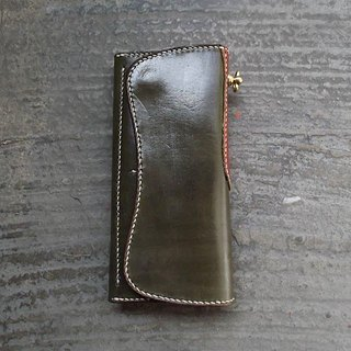 Sew color handmade leather long clip knighthood trucker wallet long clip handmade This two-color configuration