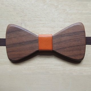 Natural wood tie - Walnut + orange leather (gift / wedding / couple / formal occasions / bow)