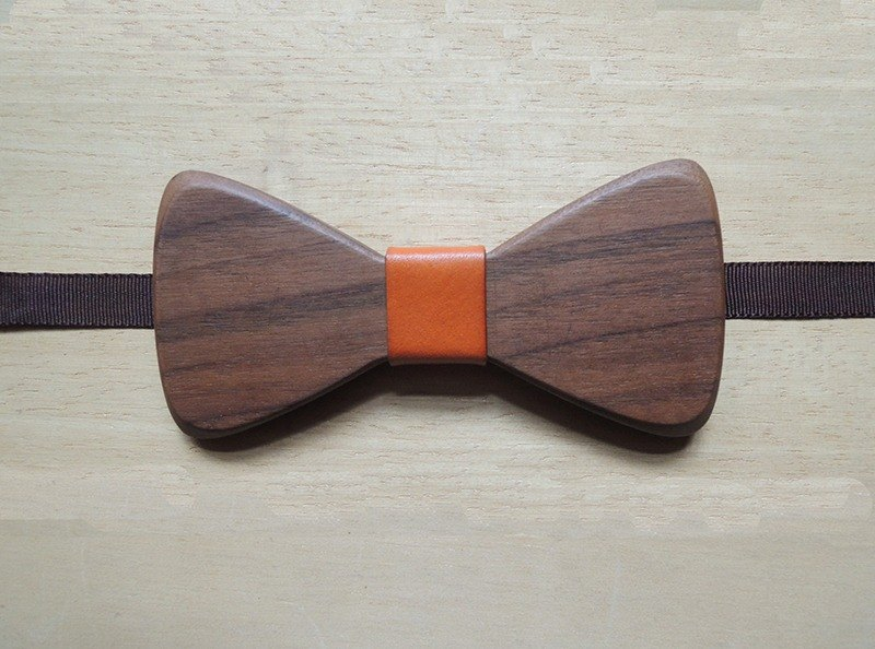 Natural Log Bow Tie - Walnut + Orange Leather (Gift / Wedding / Newcomer / Official Occasion / Bow)