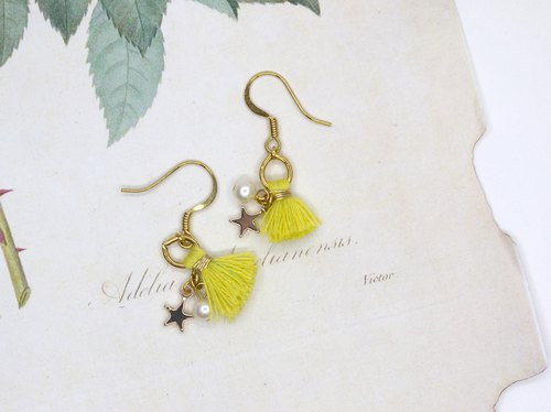 [Riitta] Meteor Pearl Fluorescent Yellow Earrings